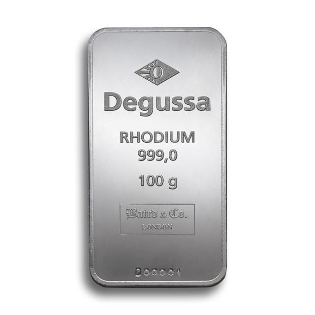 Degussa Goldhandel Rhodiumbarren 100 g