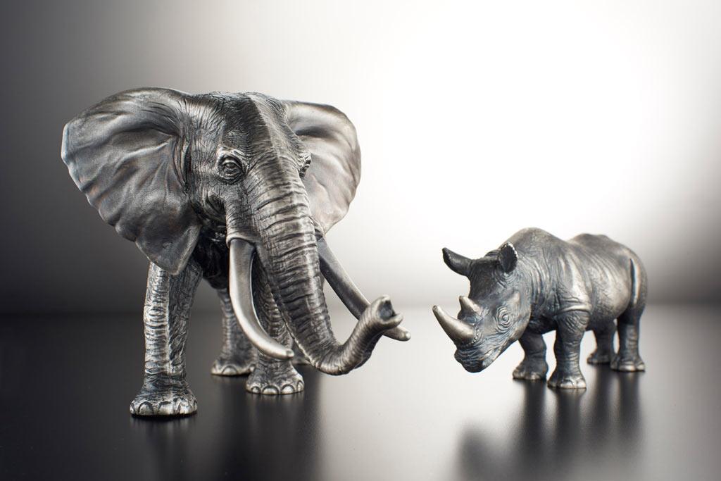Degussa-Goldhandel-Elefant-Nashorn