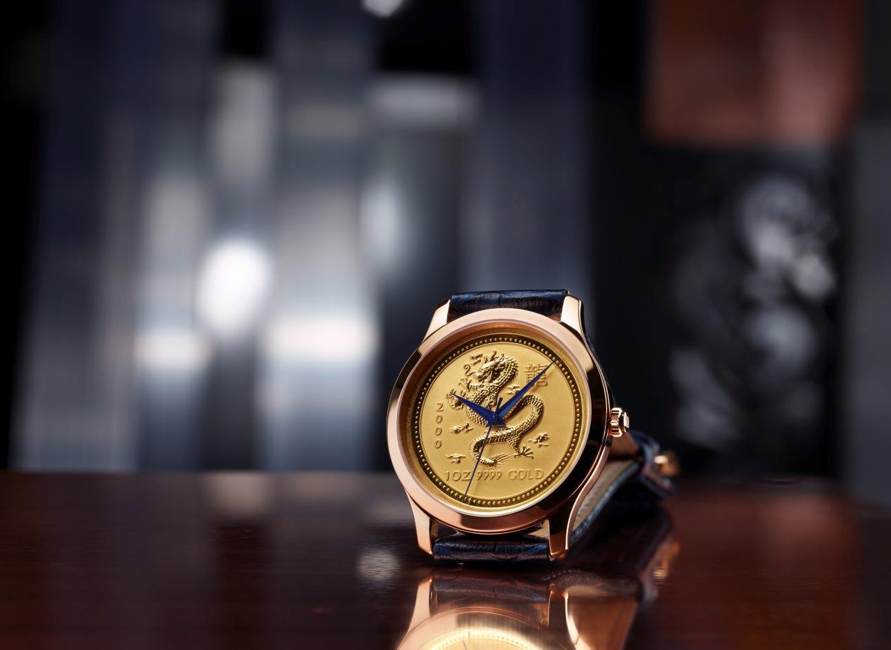 Degussa-Goldhandel-Lunar-Uhr-Drachenziffernblatt