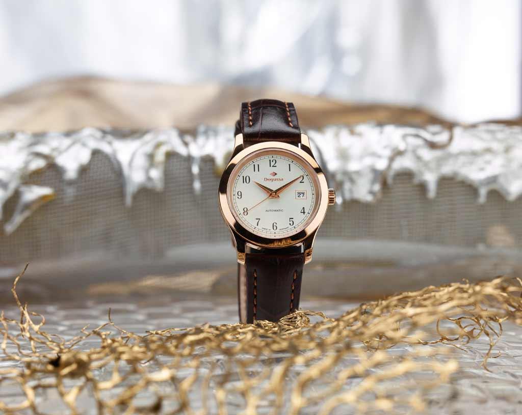 Degussa-Goldhandel-Uhr-Rosegold