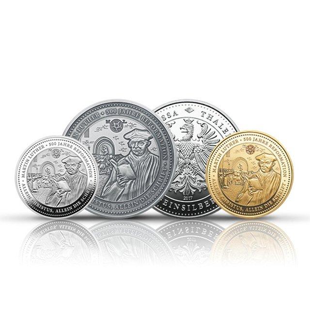 Degussa Thaler Martin Luther 500 Jahre Reformation Gold Silber silberant…