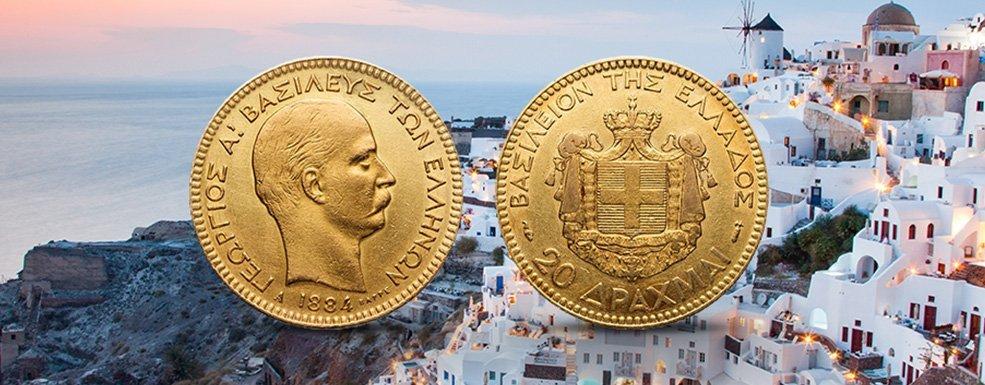 Historische Goldmünzen aus Griechenland: Dänen nach Athen tragen