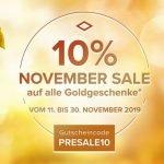 November Sale 2019 – Vom 11. bis 30. November erhalten Sie 10% auf alle Goldgeschenke*