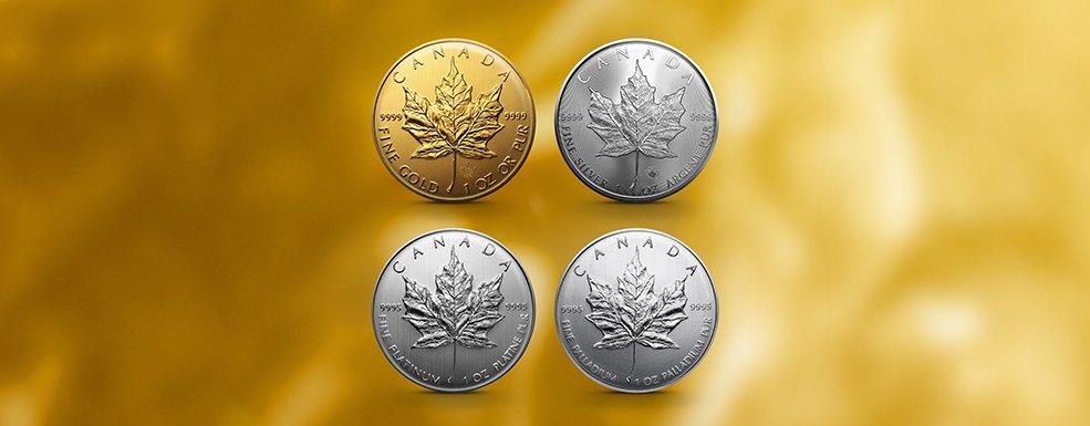 Maple Leaf Gold Silber Platin Palladium