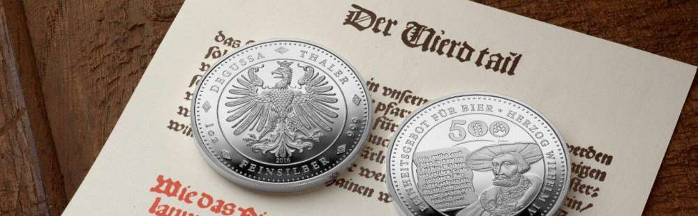 Degussa Goldhandel 500 Jahre Reinheitsgebot für Bier Urkunde