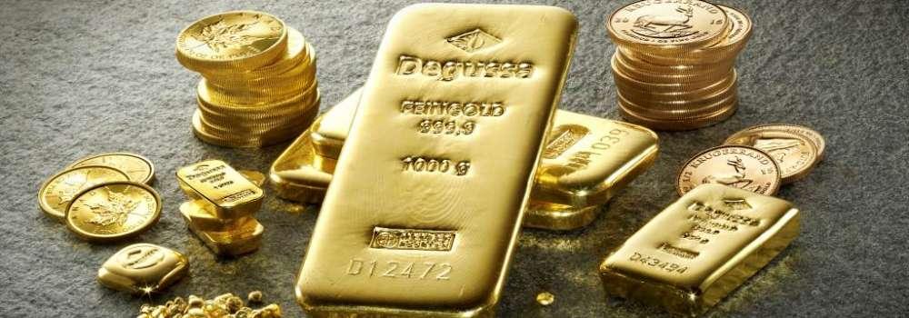 Degussa-Goldhandel-Goldbarren-Muenzen