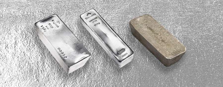 Drei Investment Silberbarren der Degussa