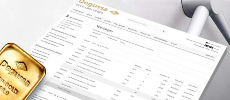 Wertlagerausdruck Degussa
